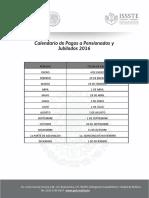 ISSSTE.calendario de Pago Pensionados 2016