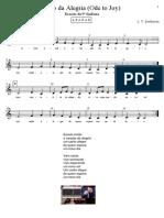 Ode to Joy - Hino Da Alegria - Partitura