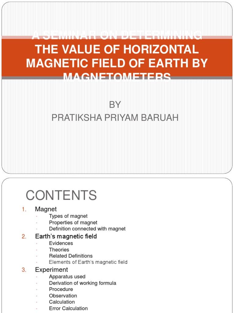 horizontalmagneticfieldofearth-161226025907 pdf | Aurora | Magnetic