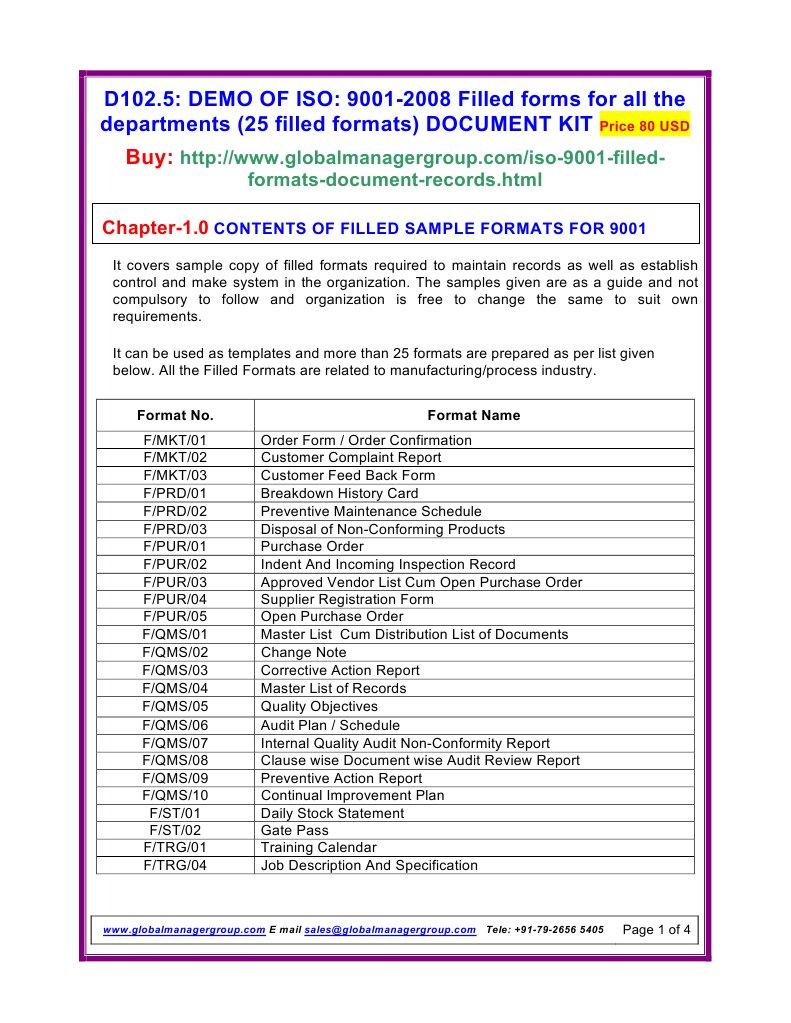 ISO 9001 2008 Filled Formats | Iso 9000 | International Organization ...