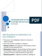Chapter 1 Summary - Nature of Management