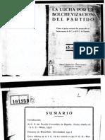 Al C. C. Del Partido Comunista de España. (Carta Abierta de La I. C. Mayo, 1931.) Discurso de Manuiliski. (Noviembre, 1931.)