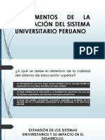 Fundamentos de La Regulación Del Sistema Universitario Peruano