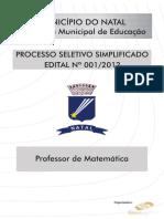 Consulplan 2010 Prefeitura de Santa Maria Madalena Rj Professor Matematica Gabarito