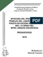 BITÁCORA DEL PROCESO DE TRABAJO DEL LABORATORIO DE PUESTA EN ESCENA DEL GRUPO 0021, A CARGO DEL  MTRO. IGNACIO ESCÁRCEGA
