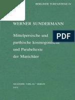 Werner Sundermann - Mittelpersische und parthische kosmogonische und Parabeltexte der Manichäer (1973)