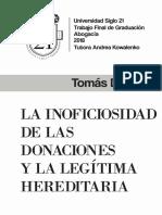 La Inoficiosidad de Las Donaciones y La Legítima Hereditaria - Tomas Donato