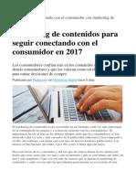 Cómo Seguir Conectando Con El Consumidor Con Marketing de Contenidos en 2017
