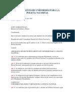 Reglamento de Uniformes Para La Policia Nacional