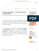 Learn Spanish - Vocabulario Polisémico - Spanish Podcast