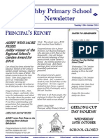 October 19, 2010 Ashby Primary School Newsletter