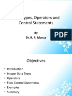 3) Data Types, Operators and Control Statements