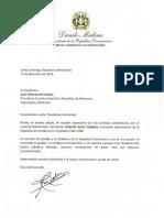Carta de condolencias del presidente Danilo Medina a Juan Orlando Hernández, presidente de la República de Honduras, por fallecimiento del exmandatario Roberto Suazo Córdova