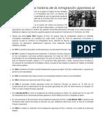 Cronología en La Historia de La Inmigración Japonesa Al Perú