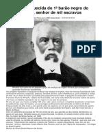 A História Esquecida Do 1º Barão Negro Do Brasil Império Senhor de Mil Escravos