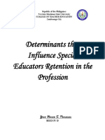 Determinants That Influence Special Educators Retention in the Profession