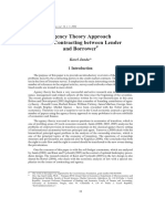 Agency Theory Approach to the Contracting between Lender and Borrower