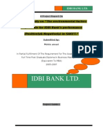 "A project study on ""The environmental factors responsible for IDBI Bank's performance"