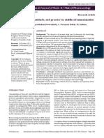 Parents' Knowledge, Attitude, And Practice on Childhood Immunization