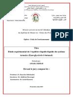 Etude Expérimental de l'Équilibre Liquide-liquide Du Système Ternaire