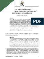 Amor (in)Condicional Notas Sobre o Coming Out Dentro de Famílias Evangélicas Karine Gouvêa Pessôa