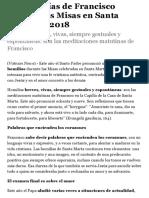 Las homilías de Francisco durante las Misas en Santa Marta del 2018 | Religión Digital