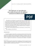 Diversificação Ou Especialização Uma Análise Do Processo de Mudança Estrutural Da Indústria Brasileira Laura Carvalho