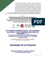 III CONGRESO INTERNACIONAL, VIII CONGRESO NACIONAL Y XXXII ASAMBLEA NACIONAL DE FENAPSIME, A. C.
