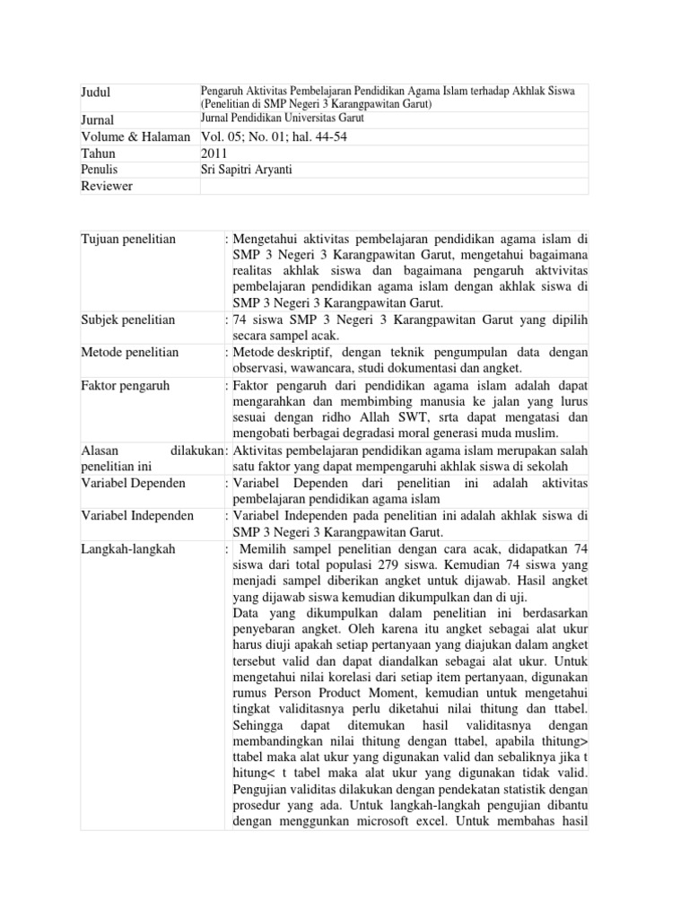 Contoh Review Artikel Ilmiah