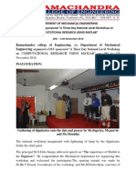 "A Report on DST Sponsored ""A Three Day National Level Workshop on COMPUTATIONAL RESEARCH USING MATLAB"""