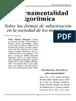 Gubernamentalidad Algoritmica Articulo ESPAÑOL