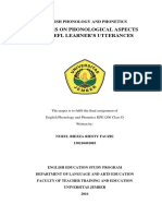 ANALYSIS ON PHONOLOGICAL ASPECTS OF AN EFL LEARNER'S UTTERANCES