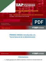 1 UNIDAD Introducción a La Teoría General de La Administración FUND de ADMINISTRACION