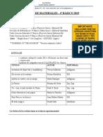 Lista de Materiales 4º Basico 2019