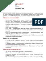 The Surrogacy Regulation Bill