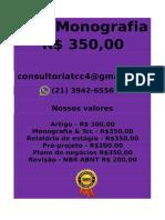 Tcc e Monografia R$ 350,00 tccmonografia247@gmail.com (21)97411-1465wConsultoria tcc monografia(30)w