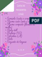 Modelo lista de presentes Chá de Lingerie