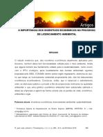 A IMPORTÂNCIA DOS INCENTIVOS ECONÔMICOS NO PROCESSO  DE LICENCIAMENTO AMBIENTAL