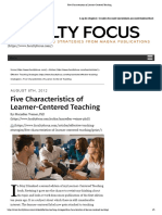 Five Characteristics of Learner-Centered Teaching