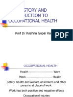 KGR Introduction to Occupational Health and History of OSH UNIMUS-CUCMS