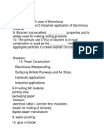 Questions (Uses of Bitumen)