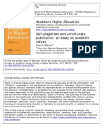 Self-plagiarism and Unfortunate Publication an Essay on Academic Values