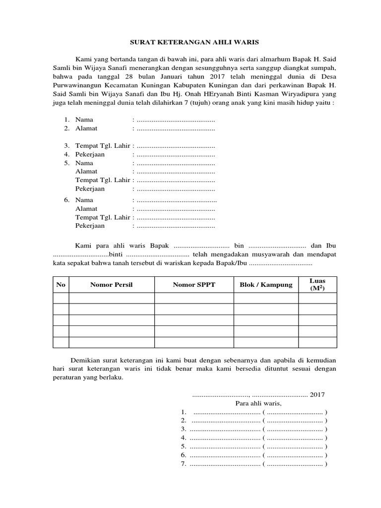 Contoh Surat Pernyataan Ahli Waris Dari Kelurahan