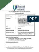 Final Exam Question Bum2413 Applied Statistics