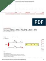 Formula of 2 Wire RTD, 3 Wire RTD & 4 Wire RTD.