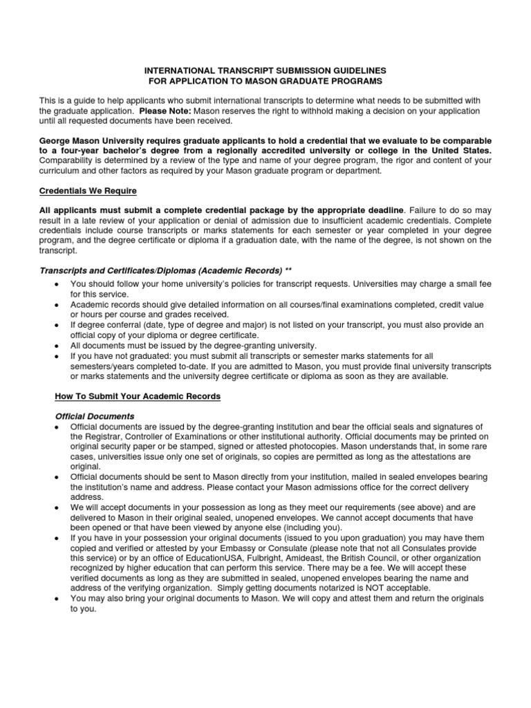 Transcript Guidelines Academic Degree Diploma