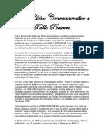 Acto Cívico Conmemorativo a PABLO PRESVERE