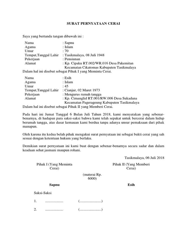 Contoh Surat Pernyataan Cerai Dari Kelurahan Simak Gambar