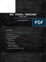 GRE Verbal Reasoning Workshop