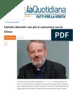 Cattolici Abortisti Non Più in Comunione Con La Chiesa